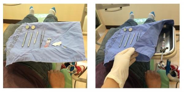 (그림 7) 조립한 국소마취 주사기는 환자의 직접 시선에 보이지 않는, 약속된 장소에 준비해 놓습니다.